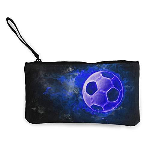 Moneda de lona, bolso de fútbol en azul con cremallera, bolsa de cosméticos de viaje multifunción, bolsa de maquillaje para teléfono móvil, estuche con asa