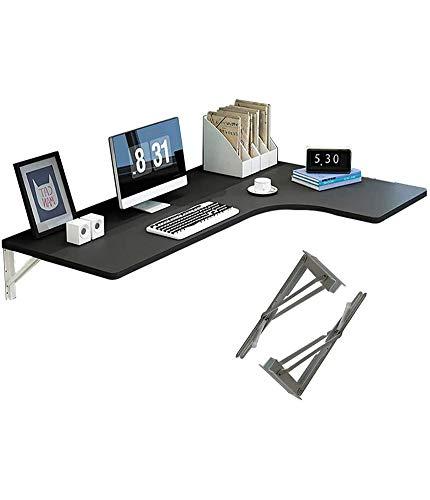 Esquina Mesa plegable del ordenador, la gota-hoja montado en la pared-Mesa de comedor Mesa de escritorio de la computadora Tabla pared Tabla Estudio Doble Soporte de la mesa lateral,Negro,80*60*40