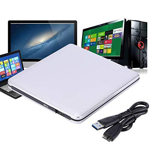 Unidad de DVD Externa USB 3.0, Unidad de DVD/CD-RW Grabadora Unidad portátil Delgada Unidad portátil de CD Unidad óptica para Netbook MacBook Laptop Desktop(Plata)