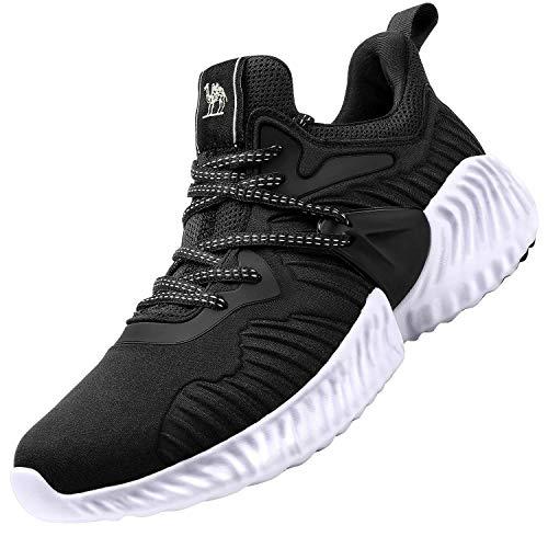 CAMEL CROWN Mens Running Shoes Sneaker Slip on Tennins Walking Workout Atheletic Shoes Black 8.5