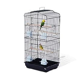 PawHut Large Metal Bird Cage for Parrot Parakeet Macaw Pet Supply Black 47.5L x 36W x 91H (cm)