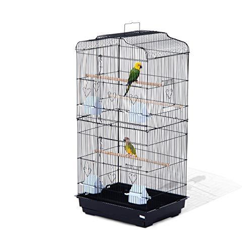 Pawhut Jaula para Pájaros Pajarera para Pájaro Loro Canario Periquito Jaula Metálica para Mascota Aves Marco Acero 47.5x36x91cm