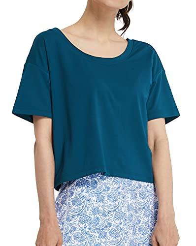 Westkun Camiseta de Manga Corta para Mujer Crop Top Deporte V y Cuello Redondo Crop Tops de Yoga Casual Correr Pull-Over Oversized tee(Armada,S)