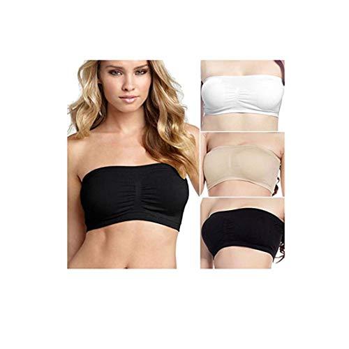 Simply Gorgeous 3 Paquet de Dames Sexy Bandeau sans Bretelles sans Couture Souple Style Tube Tube - Grand