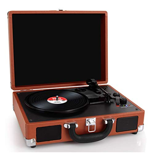 Pyle Upgraded Vintage Record Player - Classic Vinyl Player, Turntable, Rechargeable Batteries, Bluetooth, MP3 Vinyl, Music Editing Software Included, Works w/ Mac & PC, 3 Speed - PVTTBT6BR