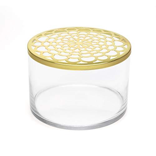 Black Velvet Studio Vaso di Vetro Decorativo e Moderna Vaso di Fiore Colore Trasparente e Oro 14 cm di Altezza x 20 cm di Diametro