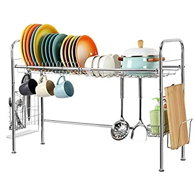 HEOMU Over The Sink Dish Drying Rack, Large Single-Tier Premium 304 Stainless Steel Dish Rack with Chopsticks Storage Basket from