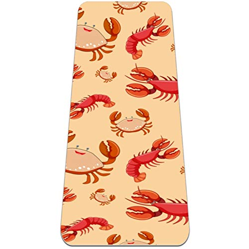 Non-Slip Yoga Mat 1/4 Inch Thick with Carrying Strap for All Types of Exercise, Yoga, and Pilates (72' x 24' x 6mm Thick) Seafood Lobster Crayfish Crab Pattern