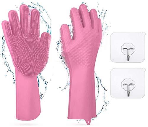 Guantes esponja de silicona para cocina,Guantes de Silicona Mágicos,Guantes para Lavar Platos con Cepillo Limpieza de Lavado Resistente al Calo,Reutilizable para Lavar , Productos limpieza hogar