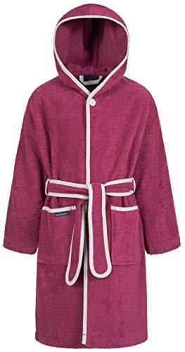 Morgenstern Frottier Kinderbademantel mit Kapuze einfarbig Brombeere Gr 134 140 Bademantel für Kids Haube Kinderduschmantel Lila Dunkelrot Pink