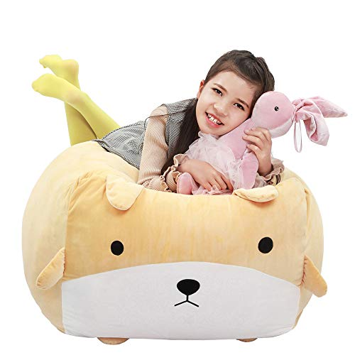 Stuffed Animal Dog Storage Bean Bag Chair Cover 24x24 Inch Velvet Extra Soft Stuffie Organization Replace Mesh Toy Hammock for Kids Toys Blankets Towels Clothes Household Supplies Yellow