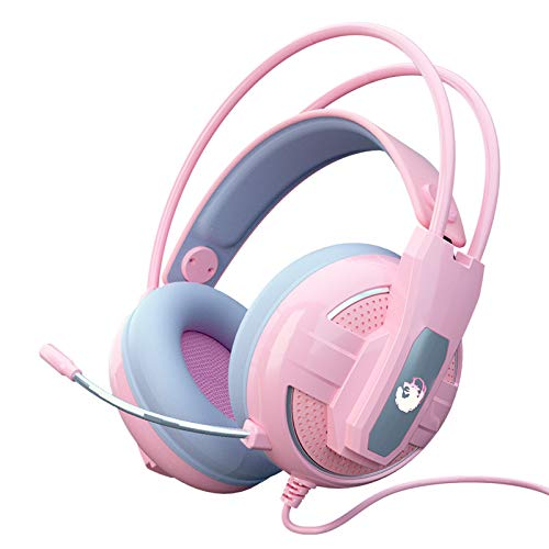 Pink Earphones with Microphone, Noise Reduction Stereo, Comfortable Protein Ear Cushions, Built-In Bluetooth Earphones for Mobile Pcs and Laptops, with 3.5 Mm Plug/Control Box