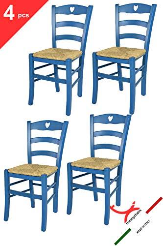 Tommychairs sillas de Design - Set 4 Sillas Cuore 38 para Cocina, Comedor, Bar y Restaurante, con Estructura en Madera de Haya Color anilina Azul y Asiento en Paja