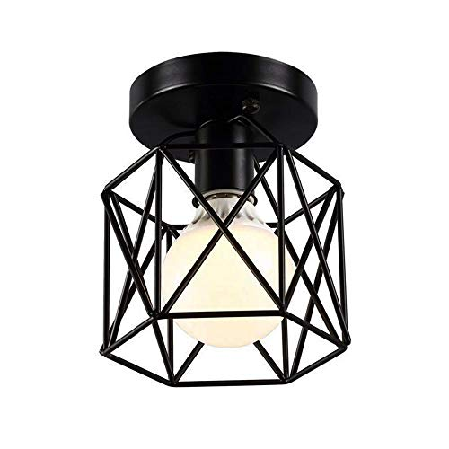 "Mini Semi-Flush Mount Ceiling Light 6"" Minimalist Geometric Hexagon Metal Cage Lamp Shade E26 E27 Socket for Hallway, Bedroom, Powder Room Decorative Lighting"