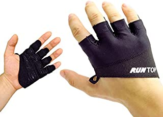 Workout Gloves Weight Lifting Grips with Silicon Padding by RUNTOP - Exercise Gloves Perfect for Women Men Crossfit Training WODS Weightlifting Bodybuilding Powerlifting Gym Fitness (Space Black, M)
