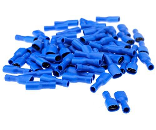 100pcs Bleu Cosse Electrique plates Connecteurs Isolées à Sertir femelle 6.3mm Assortiment sertissage