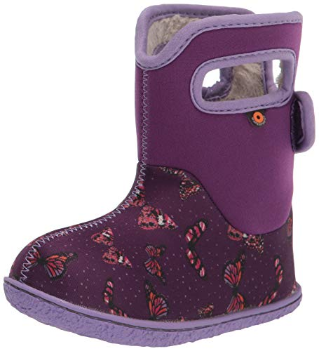 BOGS Baby Waterproof Snowboot Rain Boot, Butterflies-Violet, 8 US Unisex Infant