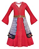 Jurebecia Princess Mulan Dress Up for Girls Fancy Party Birthday Costume Chinese Style Big Sleeve Gown Outfit Kids Cosplay Role Play Clothes Set Red Size 6-7 Years
