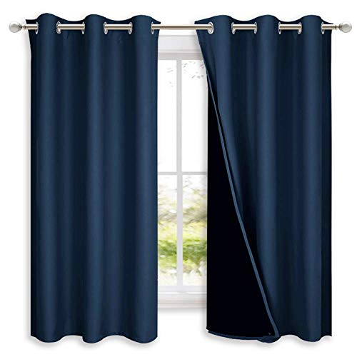 NICETOWN 100% Blackout Curtain Panels, Thermal Insulated Black Liner Curtains for Nursery Room,...