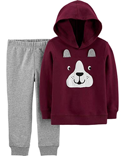 Carter's French Bulldog Hoodie & Joggers Baby Boys (6 Month) Burgundy