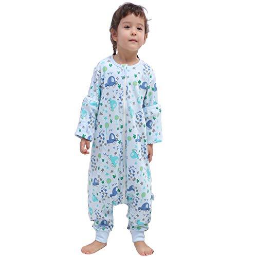 Baby schlafsack mit Beinen für Sommer/Frühling, süßer Cartoon-Schlafsack, neues Design Kurzarm-Schlafsack 0,5 tog (M/Höhe 92cm-101cm, Blauwald)