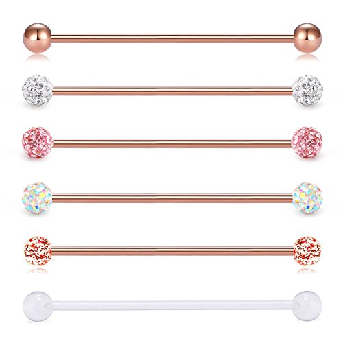 vcmart 14G 6PCS 38mm Stainless Steel Industrial Barbell Ear Cartilage Helix-Conch Piercing Bar 1 1/2 Inch