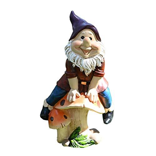 YEKKU Gnome Statue, Garden Gnomes Funny Lawn Statue Elf Ornament Garden Statue Polyresin Full Color Creative Doll Model Outdoor Christmas Decoration for Gardens
