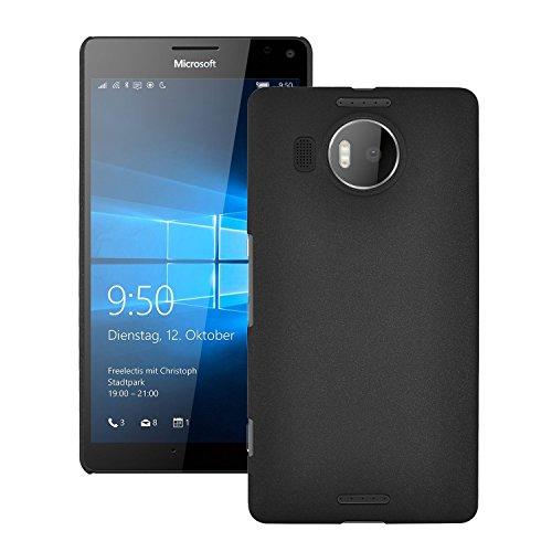 SDO Luxury Matte Finish Rubberised Slim Hard Case Back Cover for Microsoft Lumia 950 XL - Black + Micro USB OTG Cable + Touch Screen Pen Style Stylus Combo Set