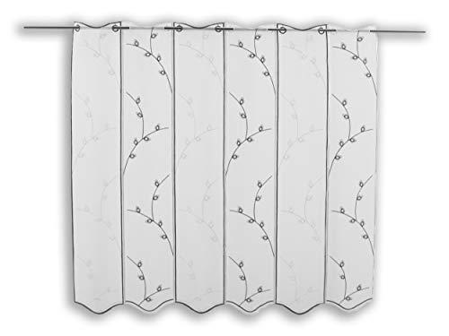 Albani Group Scheibengardine Blätter Taupe Bestickt | Höhe 45/60/90cm | Breite der Gardine frei wählbar in 15,5cm Schritten | Gardine | Panneaux | (Höhe 90cm)