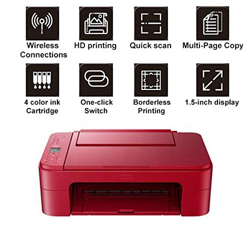 Tanneqi multifunctionele printer, inkjetprinter, kleur, draadloos, met Salut-Speed USB voor HD-print, snel scannen, meerzijdig kopiëren