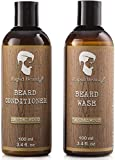 Beard Shampoo and Beard Conditioner Wash & Growth kit for Men Care - Softener & Moisturizer for Hydrating, Cleansing and Refreshing Beard and Mustache Gift Set (Sandalwood, 100ml (3.4 fl oz))