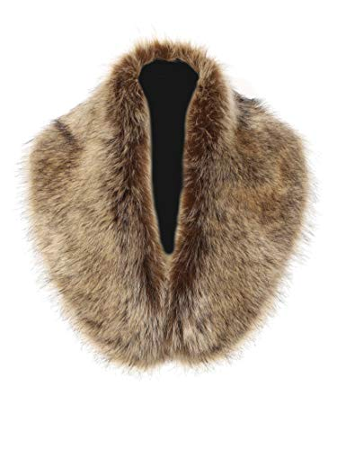Soul Young Faux Fur Collar Women's Neck Warmer Scarf Wrap(One Size,Raccoon)