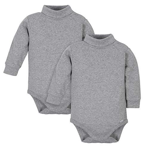 Gerber Baby 2-Pack Long Sleeve Turtleneck Onesies Bodysuits, Gray, 12 Months