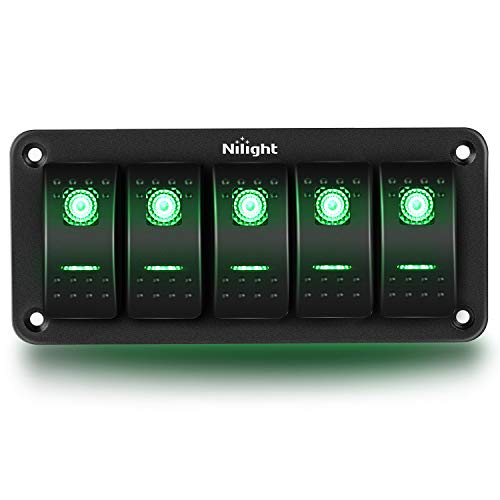 Nilight 5 Gang Rocker Switch Panel 5Pin On Off Toggle Switch Aluminum Holder 12V 24V Dash Pre-Wired Green Backlit Switches for Automotive Cars Marine Boats RVs Truck, 2 Years Warranty