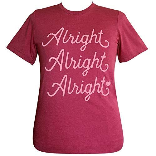 Lulu Mac Alright Alright Alright Heather Raspberry Short Sleeve T-Shirt (Medium)