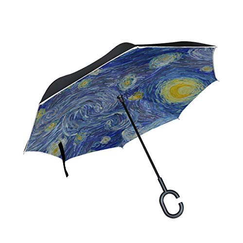 Double Layer Inverted Folding Chairs Umbrella Night Sky with Glowing Yellow Moon Painting Folding Sun Umbrella Best Reverse Umbrella Windproof Uv Protection for Rain with C-Shaped Handle