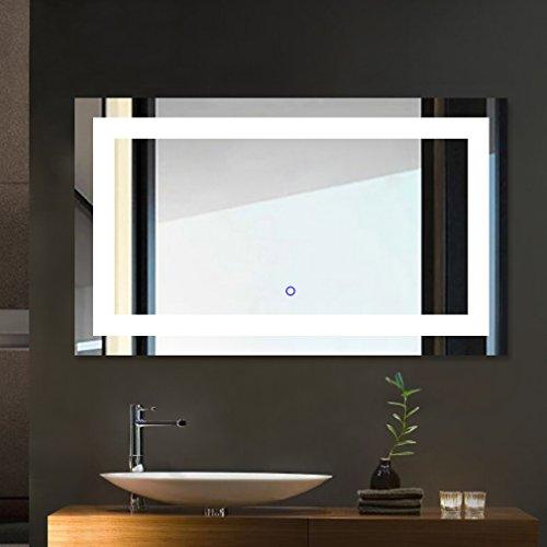 Tonffi® Spiegel mit Beleuchtung Badspiegel 100x60CM LED Spiegelleuchte 6000K Weiß 25W 5000LM