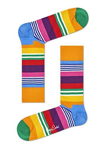 Happy Socks Unisex Freizeitsocken Multi Stripe Sock, Mehrfarbig (Koralle 3000), 41-46
