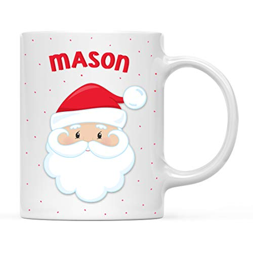 Andaz Press Personalized 11oz. Kids Milk Hot Chocolate Mug, Christmas Santa Claus, 1-Pack, Custom Child's Birthday Christmas Coffee Cup