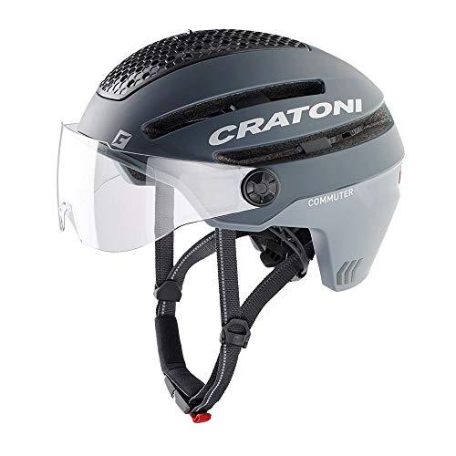 Cratoni Commuter - Bicicleta eléctrica (54-58 cm, incluye banda de seguridad RennMaxe, pedelec E-Bike, para jóvenes y adultos), color gris mate