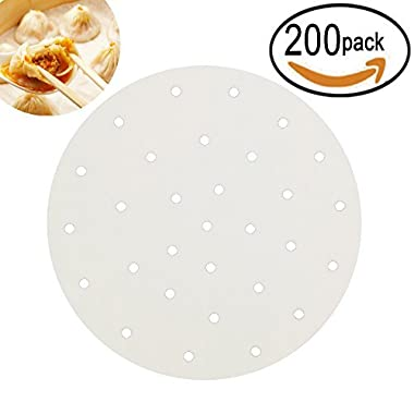 ONEONEY 200pcs Perforated Parchment Round Bamboo Steamer Paper Liners,diameter 9 inch Suitable for Air Fryer,Cooking, Steaming Basket, Vegetables, Dim Sum,Rice