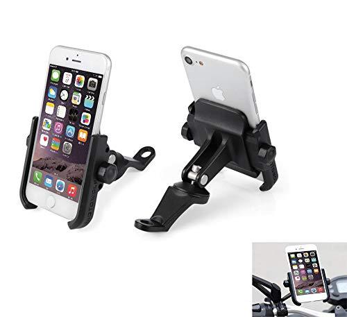 Soporte Smartphone Universal Moto Espejo Retrovisor Rotación de Aluminio para Motociclo Ciclomotor Scooter para Móvil Navegador GPS (Espejo Negro)