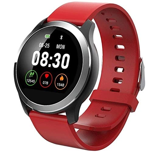 ZTYY EKG PPG Smart Watch mit Elektrokardiograf EKG-Anzeige, Holter-EKG-Puls-Monitor Blutdruck Smartwatch (Color : RED)