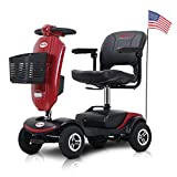 Outdoor Compact Mobility Scooter, Foldable Lightweight Electric Scooter for Adults, Maximum Range 25 km Mobility Scooter, Travel Power Scooter with 4 Wheels, Cup Holders & USB Charging Port (Red)