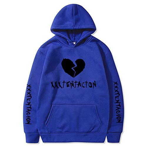 Sudaderas con Capucha de Rapero Love Fashion Sport Hip Hop Sudadera Pocket Pullover Tops Azul