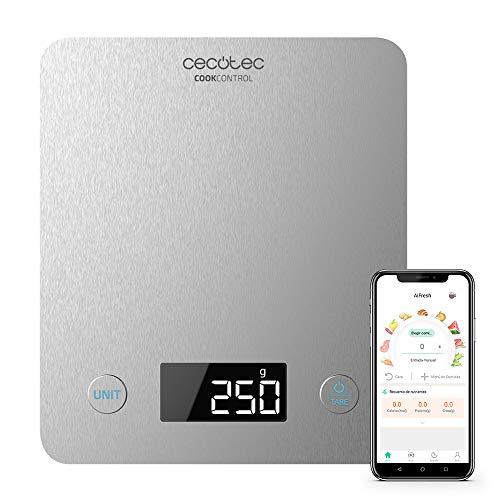 Cecotec Báscula de Cocina Cook Control 10000 Connected con App, Acabado en Acero INOX, precisión de 1 gr, Capacidad de 5 kg, Pantalla LCD, diseño extraplano, Recubrimiento antihuellas