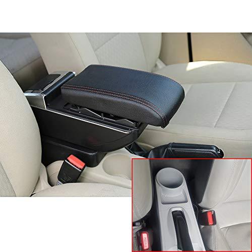 Muchkey Luxe de Voiture Accoudoir Boîte sans USB Accoudoir Couvercle Console Centrale Cuir PU Accessoires de décoration d'intérieur Noir