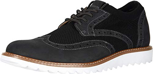 Dockers Mens Hawking Knit/Leather Smart Series Dress Casual Wingtip Oxford Shoe with NeverWet, Black/White, 10 M