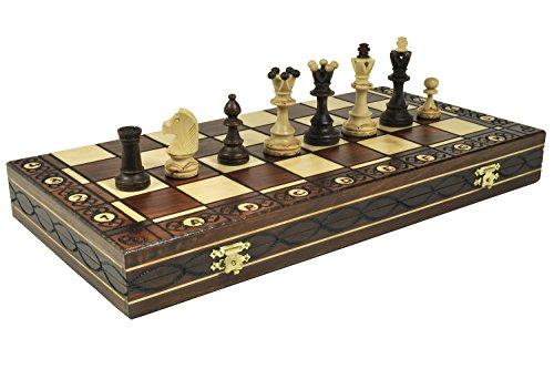 Brown Senator Wooden Chess Set - Weighted Chessmen 16 x 16