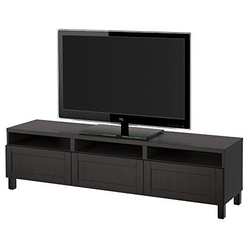 IKEA BESTA - Mueble TV con cajones Hanviken negro-marrón